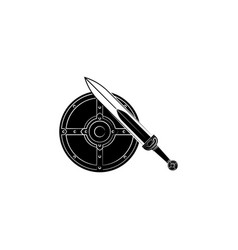 round shield and sword icon black on white vector image