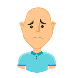 Sad bald man without hair vector