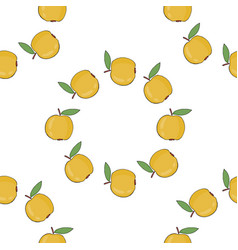seamless pattern background with yellow apples vector image
