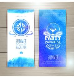 Set blue watercolor summer banners vector