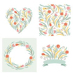 Set floral elements vector