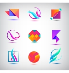 set of abstract logos icons minimal vector image