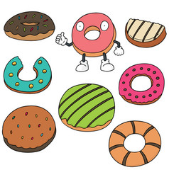 set of donut vector image