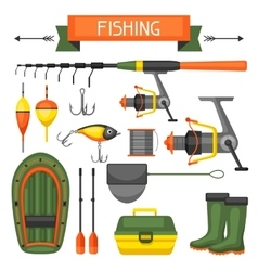 Set of fishing supplies Objects for decoration vector