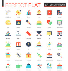 Set of flat entertainment icons vector
