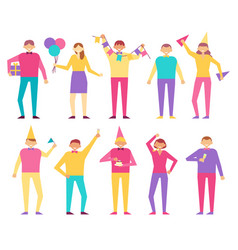 Set of people celebrating birthday party men women vector