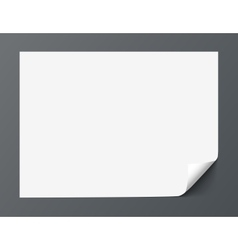 Sheet of paper with curl corner isolated on dark vector image