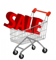 shopping cart with sale vector image