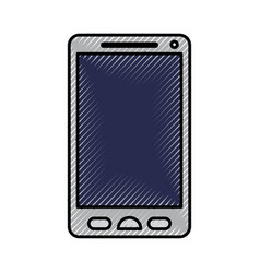 silhouette of colored pencils of smartphone icon vector image