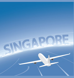 Singapore skyline flight destination vector