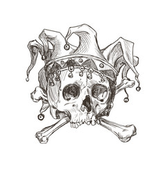 Sketch of the skull of a joker in a comic cap vector