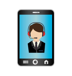 Smartphone device with call center app isolated vector