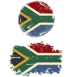 South African round and square grunge flags vector