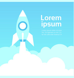 space rocket in sky over blue clouds template vector image