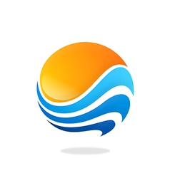 Sphere round wave water sun abstract logo vector