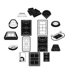 stadium black simple icons set vector image