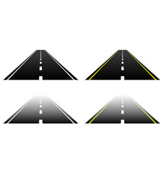 Straight road parts on white vanishing fading vector