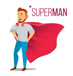 Superhero businessman character red cape vector
