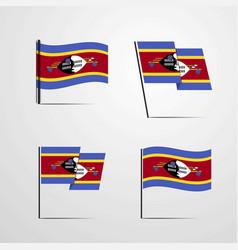 Swaziland waving flag set design vector