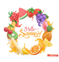 Sweet fruit logo 3d objects hello summer vector