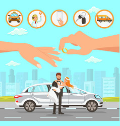 taxi and driver services at wedding vector image