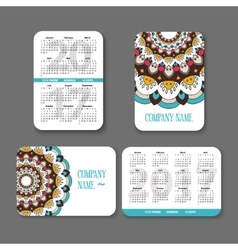 Template national design pocket calendar 2017 with vector