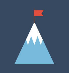 Top of mountain with flag flat icon goal business vector