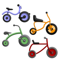 tricycle icon set cartoon style vector image