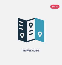 Two color travel guide icon from summer concept vector