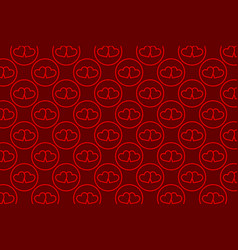 two red hearts on a red background vector image