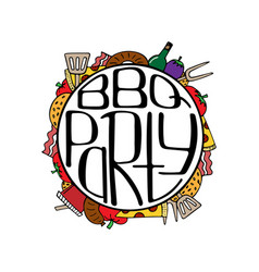 Unique with a hand-drawn lettering for the bbq vector