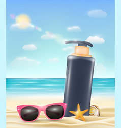 uv protection cream tube with sun glasses vector image