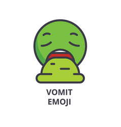 vomit emoji line icon sign vector image
