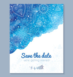 Watercolor floral wedding invitation vector