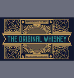 Whiskey label vintage logo western vector