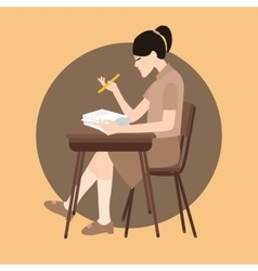 Woman sitting study school class chair holding pen vector