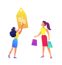 woman with shopping bags and shop discount tag vector image