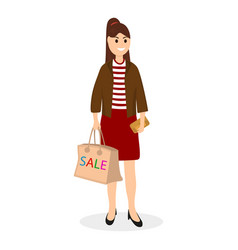 young women on a shopping sale with a bag vector image