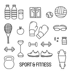 black and white sport and fitness doodle set vector image vector image