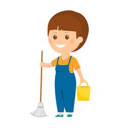 Cartoon cleaner with bucket vector