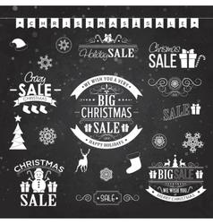Christmas sale design set - labels emblems on vector image vector image