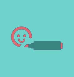 flat icon on background kids toy felt-tip marker vector image