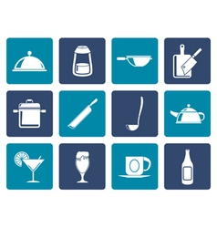 Flat Restaurant cafe food and drink icons vector image vector image