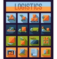 Set of logistics and delivery systems flat icons vector image