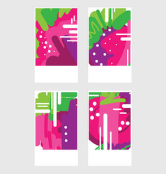 Set of templates with abstract pink berries hand vector