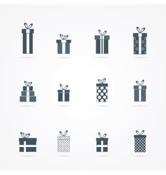 Black gift icons set vector image vector image