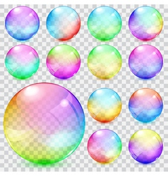 Colorful transparent glass spheres vector image vector image