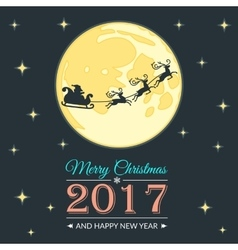 Santa and moon greeting card vector image