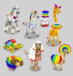 stylized animals with rainbow decoration vector image