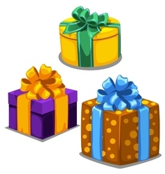 Three gift boxes with ribbons of different colors vector image